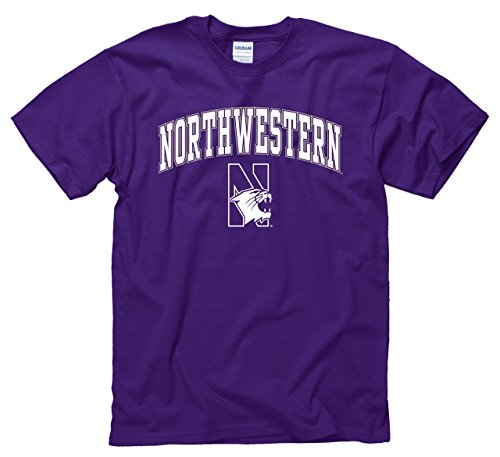 Campus Colors NCAA Adult Arch & Logo Soft Style Gameday T-Shirt (Northwestern Wildcats - Purple, Medium)