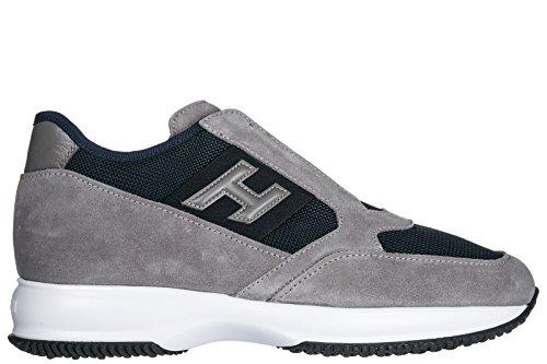 Hogan Herrenschuhe Herren Wildleder Sneakers Schuhe Interactive Slip on Grau