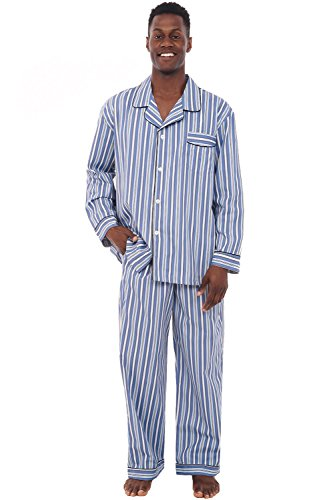- Alexander Del Rossa Men's Lightweight Button Down Pajama Set, Long Cotton Pjs, 3XL Light and Dark Blue Striped (A0714R623X)