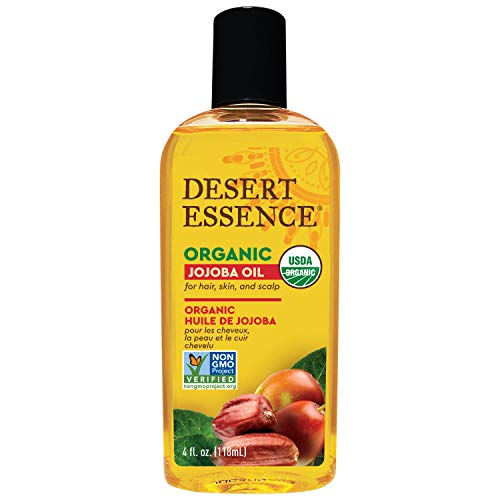 Desert Essence Organic Jojoba Oil – 4 Fl Oz – Moisturizer for Face, Skin, Hair – Cleanses Clogged Pores – May Prevent Scalp Flakiness – Fights Skin Infections – USDA – Suitable for Sensitive Skin