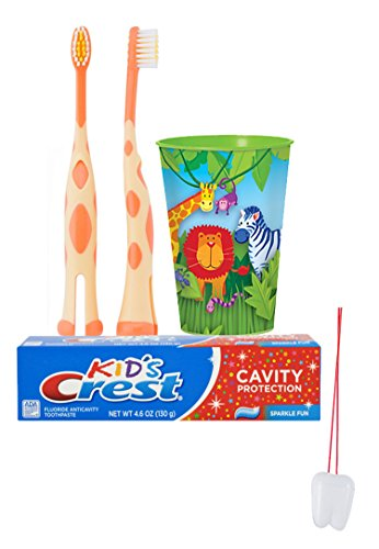 - Jungle Animal's 3pc. Bright Smile Oral Hygiene Set! Giraffe Manual Toothbrush, Crest Kids Sparkle Fun Toothpaste & Mouthwash Rinse Cup! Plus Bonus