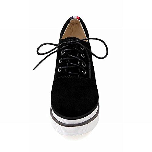 Latasa Femmes Plate-forme À Lacets À Lintérieur De Chaussures Compensées Noir