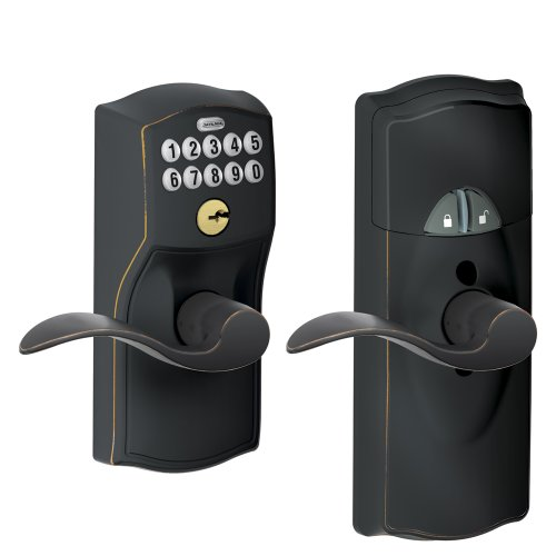 - Schlage Z-Wave Home Keypad Lever, Aged Bronze, FE599NX CAM 716 ACC 716, Works with Alexa via SmartThings