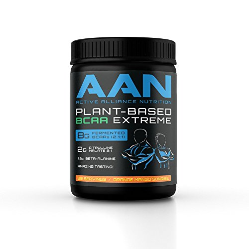 AAN Natural Plant Based BCAA Powder Drink Vegan Friendly, Fermented BCAAs, Citrulline Malate, Beta Alanine Intraworkout, Post Workout and Pre Workout Protein
