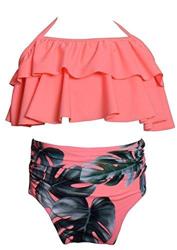 Angelchild Girl Bikini Swimsuit Set Two-Piece Ruffle Falbala High Waisted Bikini Swimwear Bathing Suits Pink 140 -