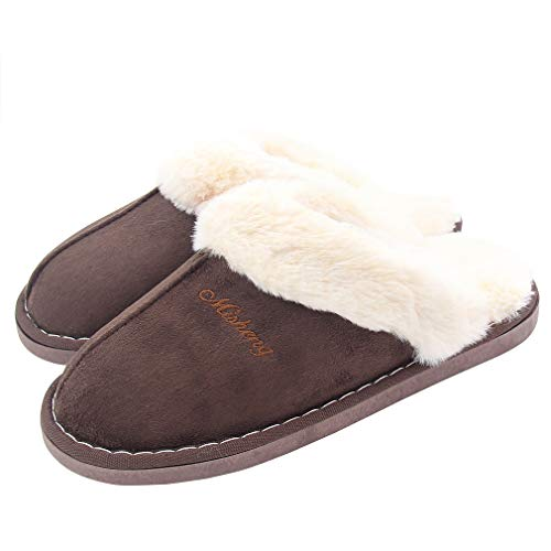 ALOTUS Unisex Memory Foam Warm Soft Slippers with Thick Fur Indoor Outdoor Brown