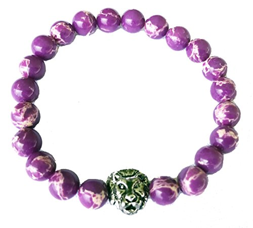 Purple Jasper Stone Bead Stretchy Elastic Bracelet with Lion Head, 8mm, Unisex, Friendship, - Jasper Purple