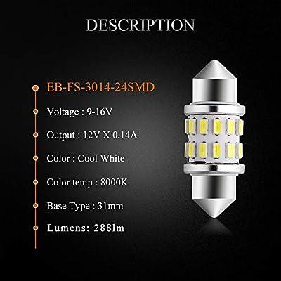 EverBrightt 4-Pack Cool White 31MM 3014 24SMD LED Festoon Light Lamp For Map Light Dome Light Trunk Light Plate Light: Automotive