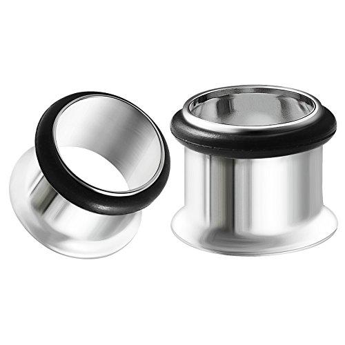 BIG GAUGES Pair of Surgical Steel 1/2 inch Gauge 12mm Single Flared Piercing Jewelry Ear Plugs Lobe Tunnel BG0066