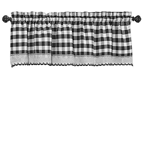 GoodGram Buffalo Check Plaid Gingham Custom Fit Window Curtain Treatments Assorted Colors, Styles & Sizes (Single 14 in. Valance, Black)
