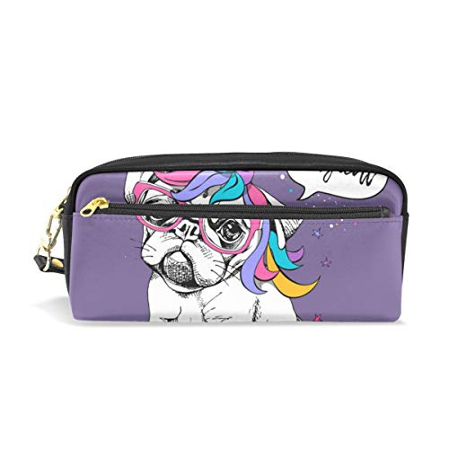 Pencil Case Stylish Print Puppy Bulldog In A Bright Colored Costume Of Unicorn Large Capacity Pen Bag Makeup Pouch Durable Students Stationery Two Pockets With Double Zipper ()