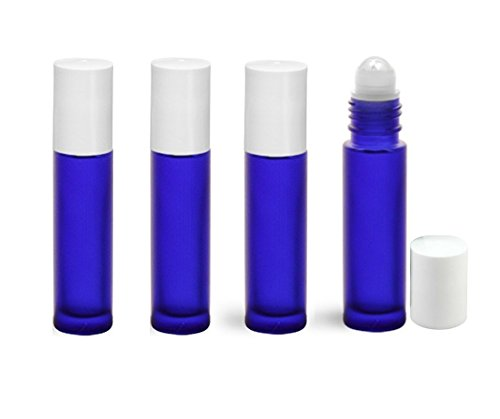 Perfume Studio Glass Ball Roller Bottle for Essential Oils. Safest for Aromatherapy Use (Frost Blue Cobalt with White Cap; 4 Roll On Bottles)