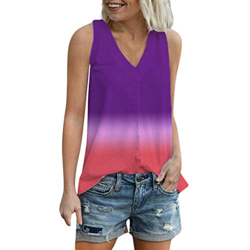 (【MOHOLL】 Women Sleeveless Tops, V-Neck Gradient Color Tank Top Blouse Soft Casual Summer Tank Tops Purple)