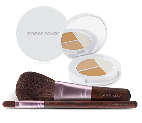 Sheer Cover Studio – Starter Face Kit – Perfect Shade Mineral Foundation – Conceal & Brighten Highlight Trio – with FREE Foundation Brush and Concealer Brush – Medium Shade – Compact Sizes/4 Pieces