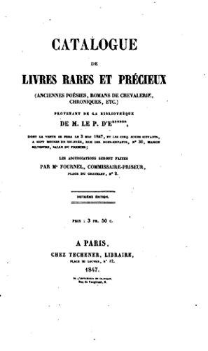 Catalogue De Livres Rares Et Precieux French Edition