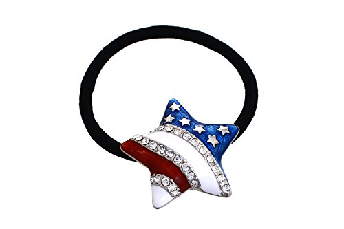 Patriotic Star Ponytail Holder by Crystal Avenue | Stretchy Elastic Hair Tie | Silvertone and Enamel with Crystal Accents (Patriotic Holder)