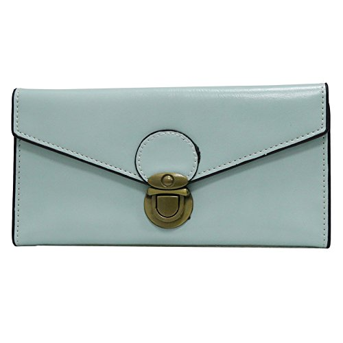ETIAL Womens Oily Soft Leather Vintage Long Envelope Wallet Card Cases Mint by ETIAL