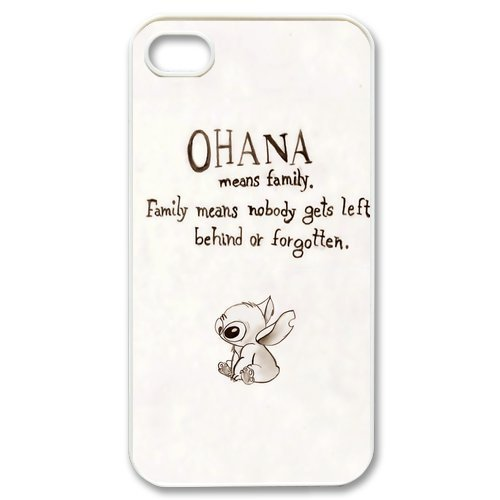 DiyCaseStore Custom Disney Animation Lilo and Stitch iPhone 4 4S Case Cover - Ohana means family,family means nobody gets left behind,or (Easy Disney Costume)