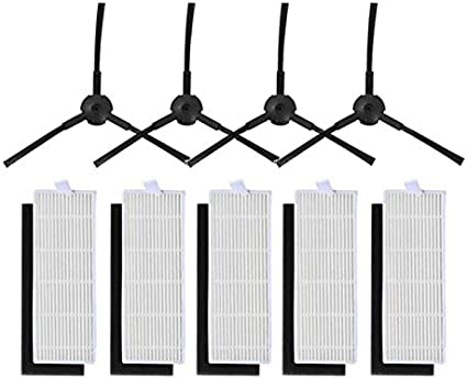 Naliovker 1 Juego para Ilife A4 Robot de Limpieza Ilife A4 Robot Ilife A4S A6 A4 Robot Aspiradora Filtro Y Cepillo Lateral