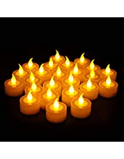 Furora LIGHTING Flameless Led Tealight Candles - Battery Operated Tea Lights with Electric Flickering Flame Best for Romantic Wedding Decorations, Indoor Home and Halloween Decor - Pack of 24
