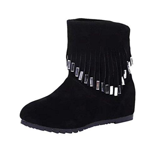 Botas Mujer,Ouneed ® Las mujeres de moda mantienen caliente borla botas invierno raquetas Negro