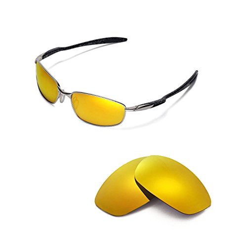 Walleva Replacement Lenses for Oakley Blender Sunglasses - 5 Options Available (24K Gold Mirror Coated - Polarized) -