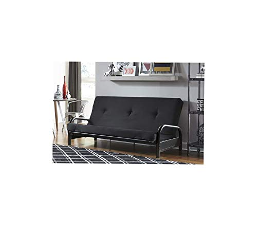 Dhр Office Home Furniture Premium Vermont Metal Frame and 6 Black Futon and Mattress Set, Full