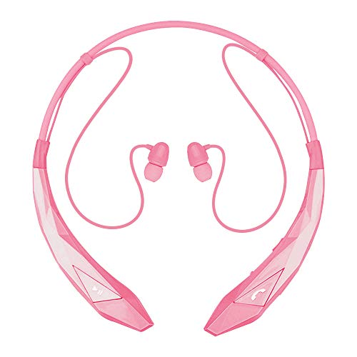 Pianogic Bluetooth Headphones Wireless Neckband Headset Stereo V4.0 Magnetic Earbuds Noise Cancelling Mic with Call Vibrate Alert (Pink)