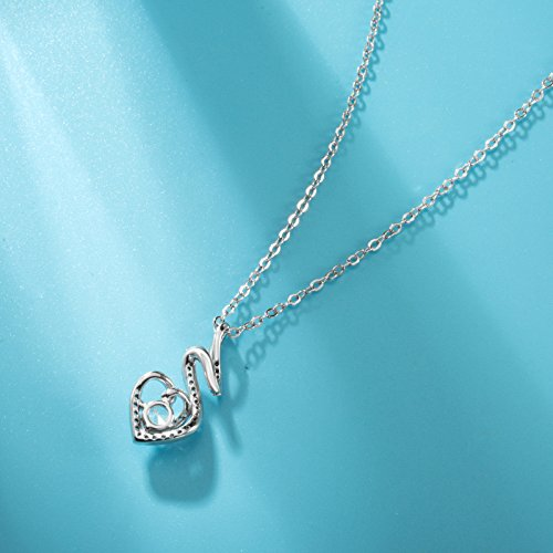 EUDORA Sterling Silver CZ Heart Pendant Necklaces Jewelry for Mother & Daughter,18'' Chain by EUDORA (Image #3)
