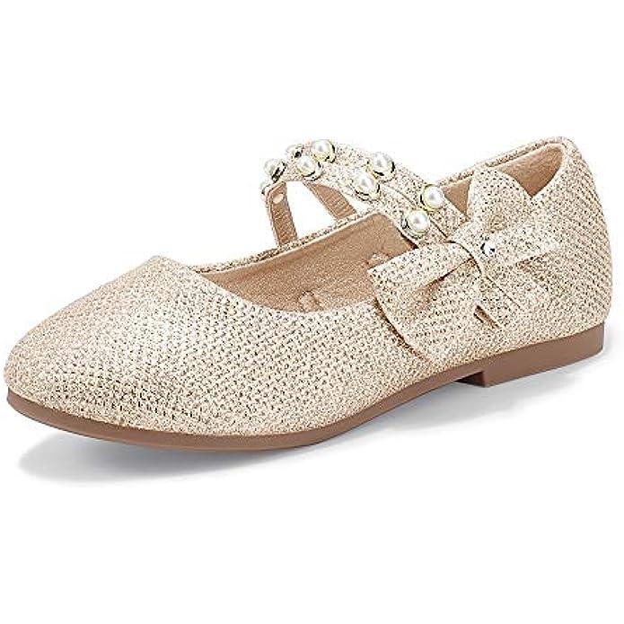 PANDANINJIA Girl's Toddler/Little Kid Cheryl Bow Princess Flower Ballerina Flats Shoes Pearl Double Strap Dress Ballet Flat Mary Jane