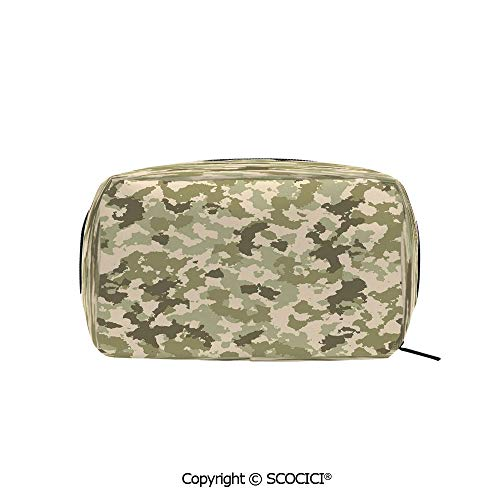 (Travel Cosmetic Bag Portable Makeup Pouch Old Fashioned Camouflage Pattern Classical Jungle Survival Theme makeup clutch for Girls Ladies Women)