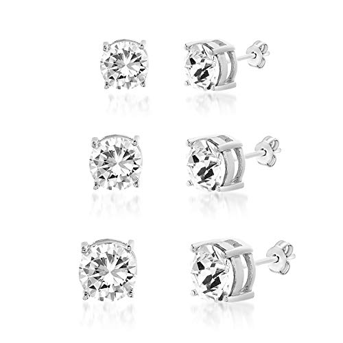 (Devin Rose 3-1/2 Cttw 3 Pair 4mm, 6mm & 8mm Stud Earring Set for Women Made With Swarovski Crystal in 925 Sterling Silver)