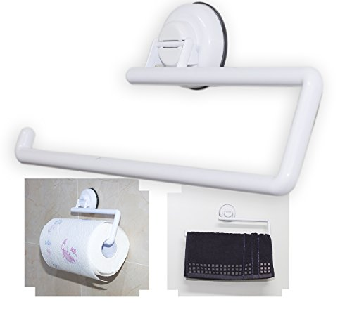 Paper Towel Holder for Kitchen Wall Mounted White Dispenser, Under Cabinet Adhesive Suction Cup Paper