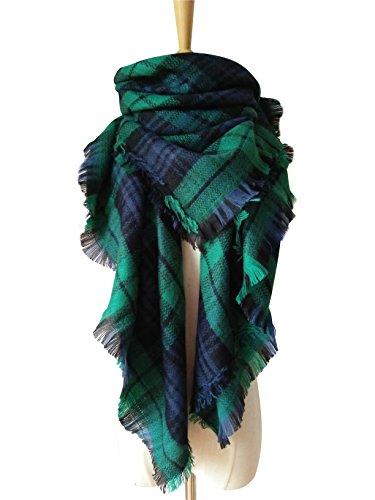 MOTINE Tartan Blanket Scarf Stylish Winter Warm Pashmina Wrap Shawl for Women (Green) ()