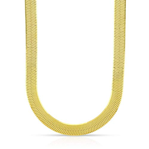 - 14K Yellow Gold 6mm Imperial Herringbone Chain Necklace 16