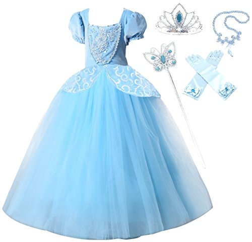 Cinderella Dress Up (Romy's Collection Princess Cinderella Special Edition Blue Party Deluxe Costume Dress-Up Set (Blue, 7-8))