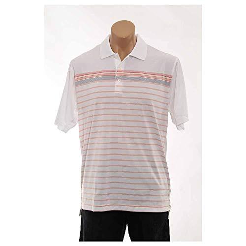 adidas Golf Men's Climacool White-Based Engineered Stripe Polo Shirt, White/Sunset, XX-Large