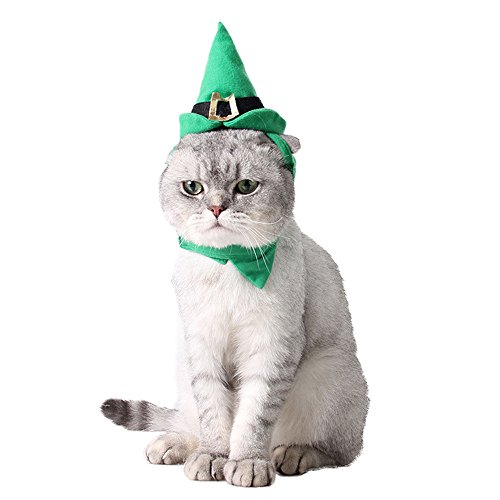 Beanie Baby Costume Pet (Mummumi Small Pet Holiday and Christmas Hat, Puppy Dog Santa Hat Costume Christmas Collection Pet Accessories For Cat Rabbit Hamster Guinea Pig, Small, Green (H))