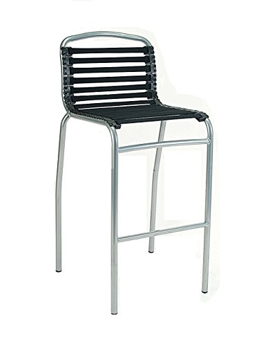 Modern Bungee Office Chair - New Spec  Flat Bungee Cord in Bar Height Bar Stool with Chrome Frame and Legs, Black
