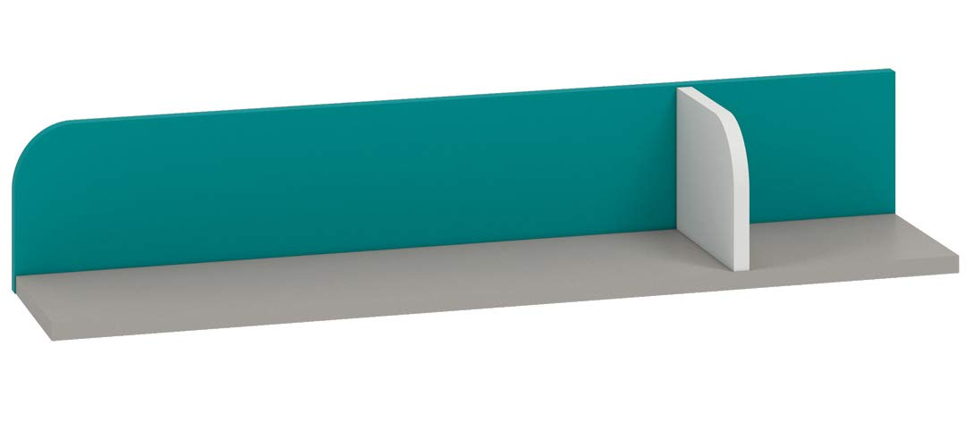 Kinderzimmer - Hängeregal/Wandregal Renton 15, Farbe: Platingrau/Weiß/Blaugrün - Abmessungen: 15 x 92 x 20 cm (H x B x T)