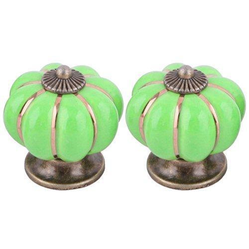 Suite Armoire - eDealMax Céramique Accueil Meubles en Forme de citrouille Armoire à tiroirs Porte Tirez sur la poignée 2 pièces vert