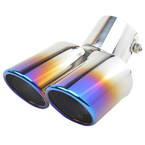 (PAUL88 Dual Exhaust Pipe 1 to 2 Throat Tailpipe Replacement Chrome Trim Rear Tail Blue Car Stainless Steel Universal Muffler Tip(Bright Silver + Blue ) )
