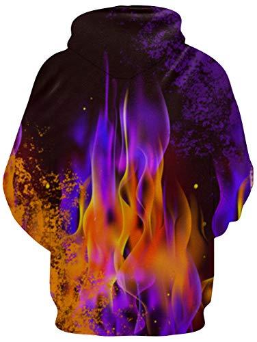 RAISEVERN Unisex: Realistischer 3D-Druck Galaxy Pullover Hoodie Lustiges Katzenmuster mit Kapuze Sweatshirts Taschen für Teenager-Pullover L Purple Fire