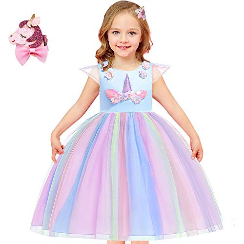Girls Unicorn Costume Outfit Pageant Princess Party Dress (Rainbow Blue, 8-9 Years)