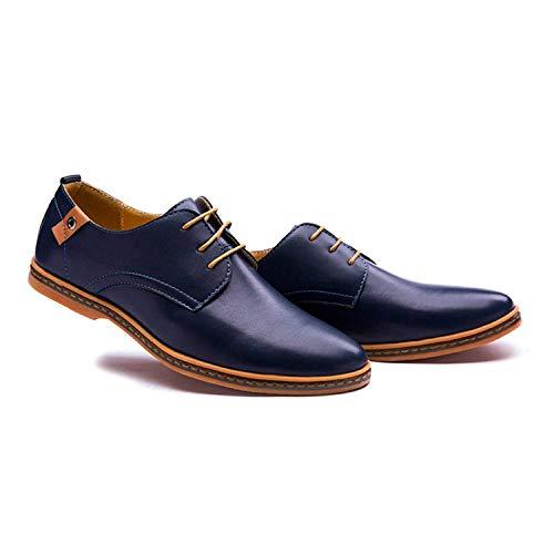 de Vestir Estilo con Negocios de de Comodidad Oxfords de Cordones Minetom Cuero Zapatos Británico Azul Hombres Boda Planos OgnxS7