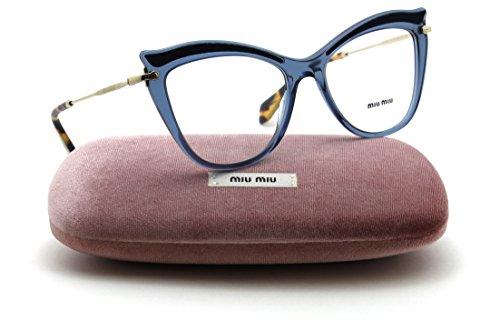 Miu Miu MU 06PV Women Cat Eye RX - able Eyeglasses (TRANSPARENT BLUE VIG1O1, - Miu Frames Miu