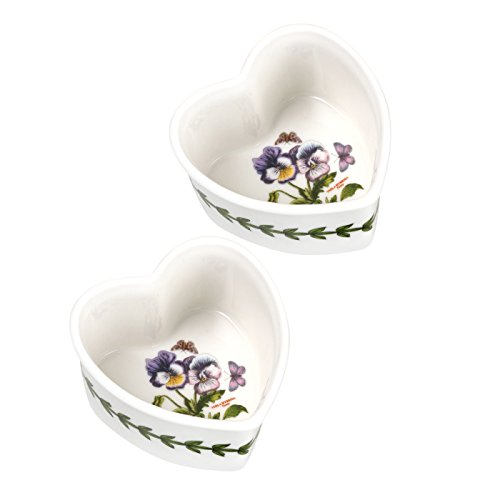 Portmeirion Botanic Garden Pansy Set of 2 Heart-Shaped Ramekins
