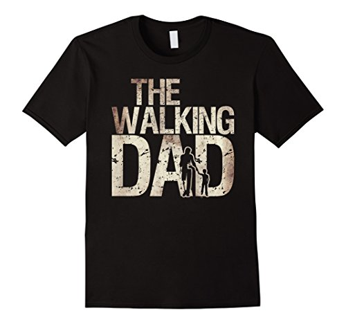 Mens Walking Dad Shirt Zombie Man And Kid Father's Day Tee 2XL (Dead Person Halloween Costume)