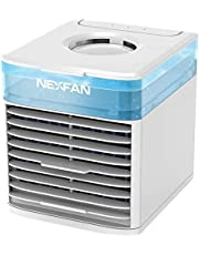 NexFan Portable Air Cooler,USB Desk Fan with 3 Fan Speeds, Evaporative Air Cooler for Home & Office, Air Humidifier, 7 Light Colors- Mini Air Conditioner Room Cooler with In LED Night Light (White)