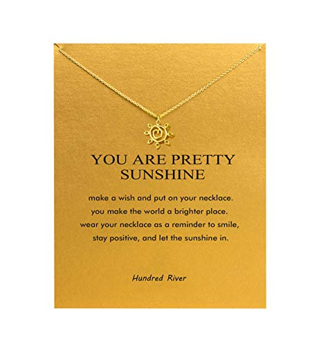 Hundred River Sun Necklace with Message Card Gift Card (Abstract Sun)